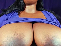 Bbw shows big tits and hard nipples