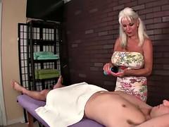 Gilf huge tits masturbates